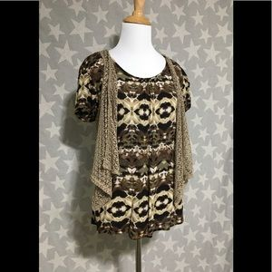 Dressbarn Brown Top/Lacy Vest